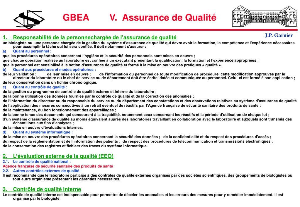 GBEA        V.  Assurance de Qualité