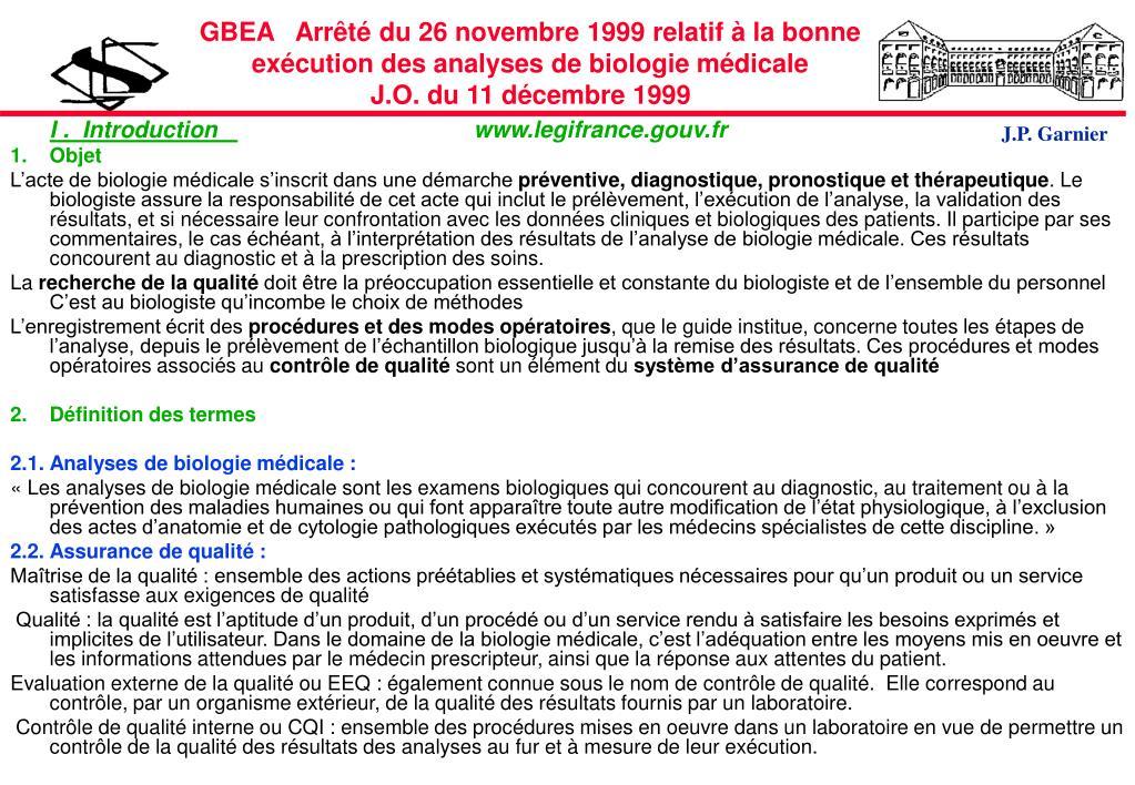 GBEA   Arrêté du 26 novembre 1999 relatif à la bonne exécution des analyses de biologie médicale