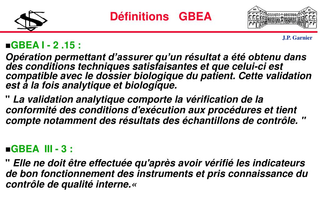 Définitions   GBEA