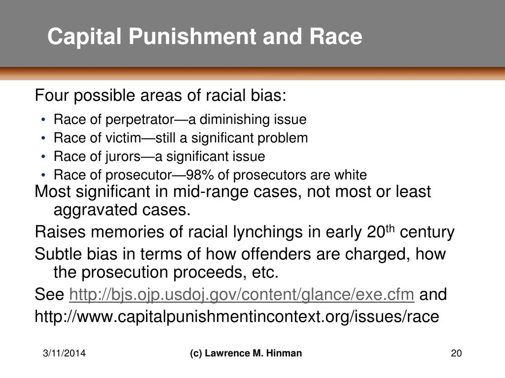 a report on racism and capital punishment 2 punishment in houston part iii advances a proposal for reducing racial disparities in capital punishment finally, part iv addresses potential objections to the.