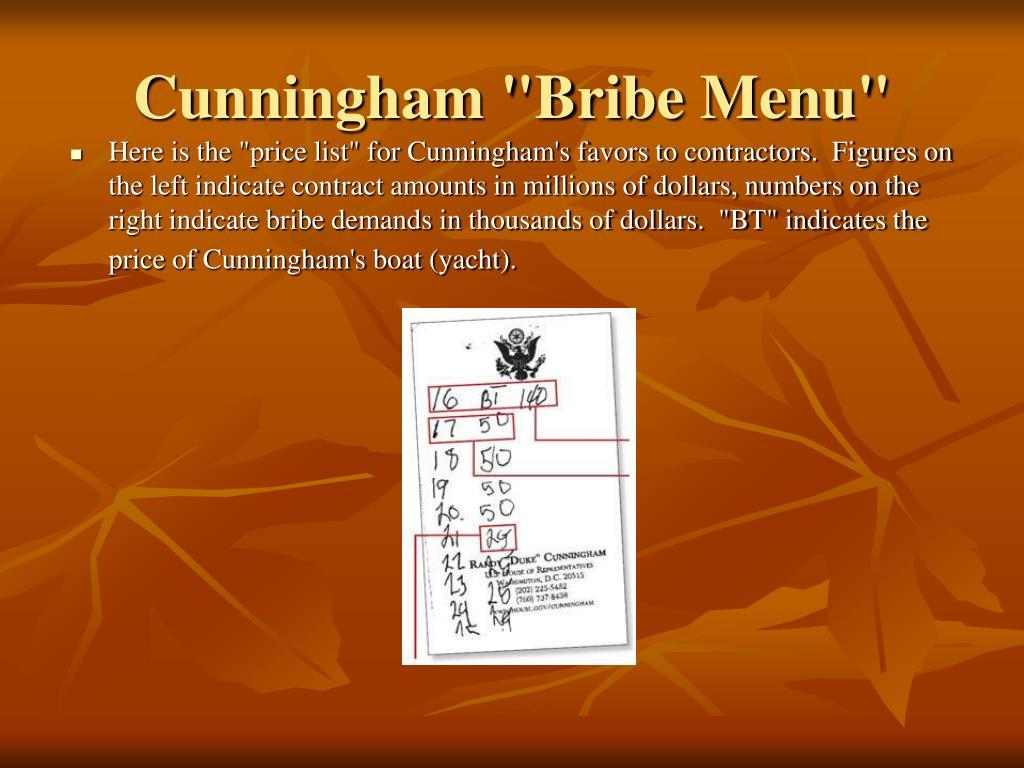 """Cunningham """"Bribe Menu"""""""