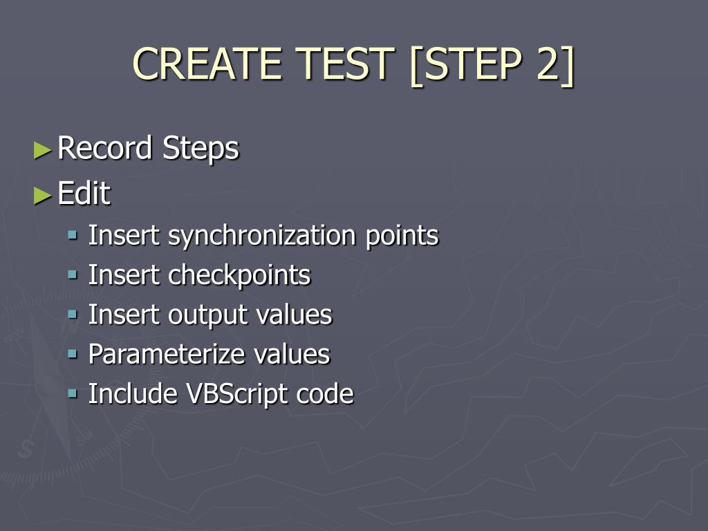 CREATE TEST [STEP 2]