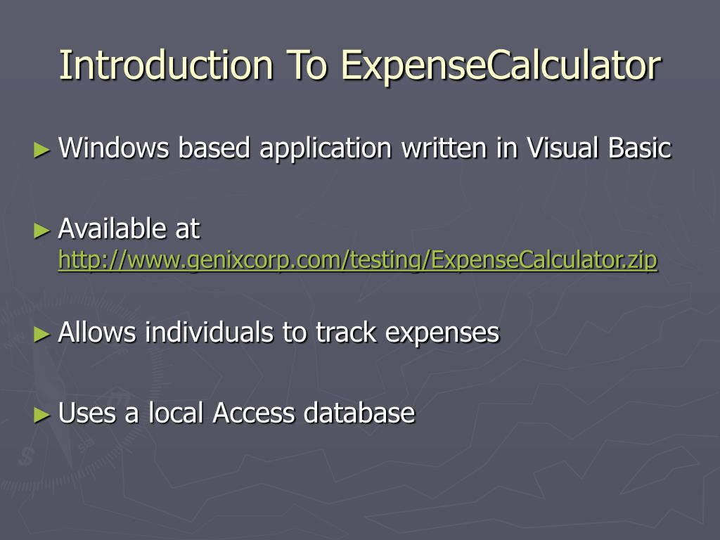 Introduction To ExpenseCalculator