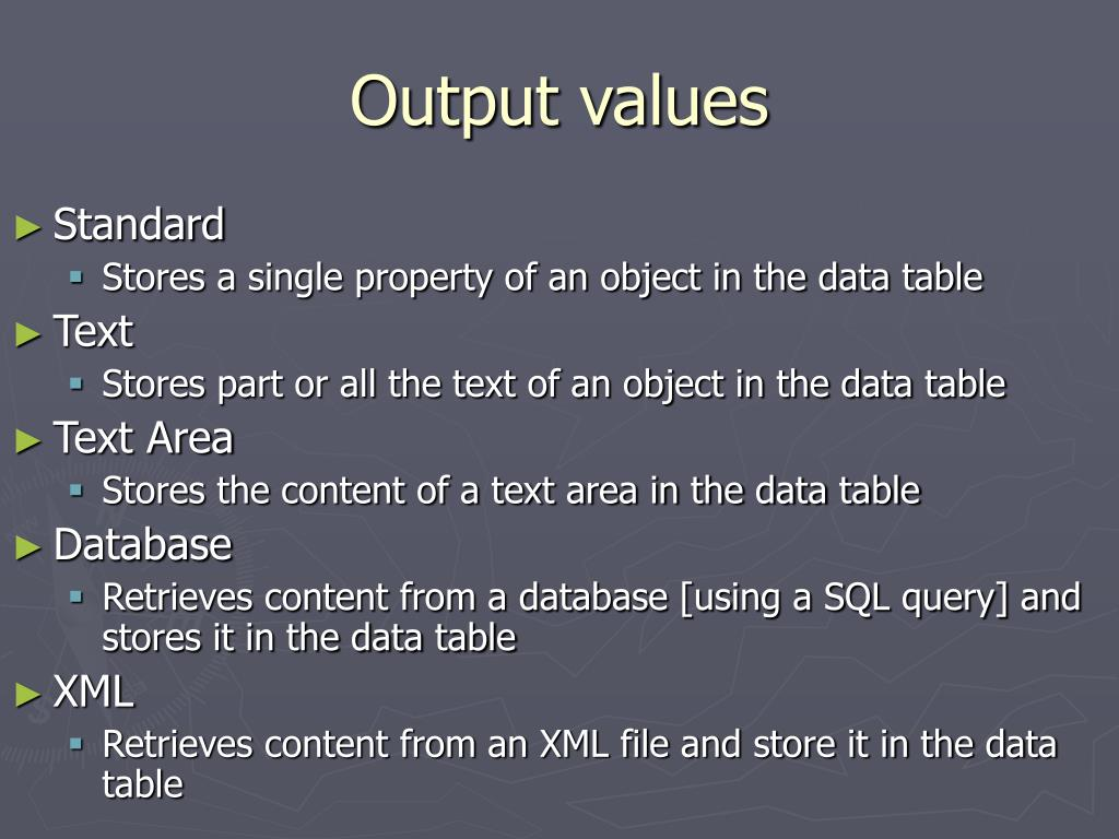 Output values