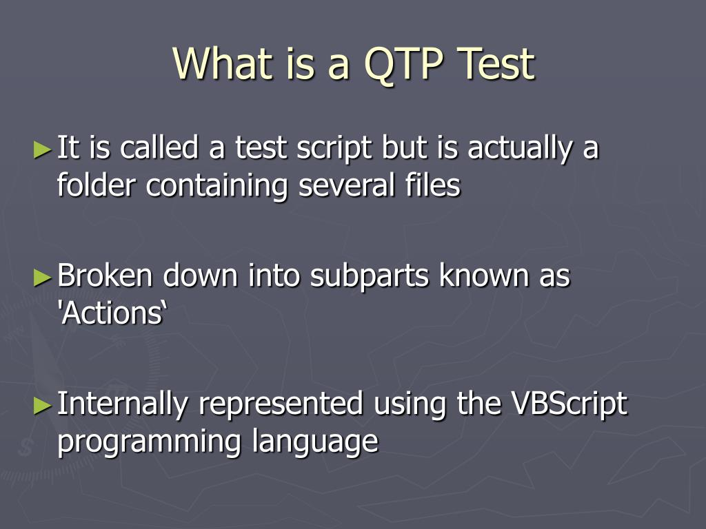 What is a QTP Test
