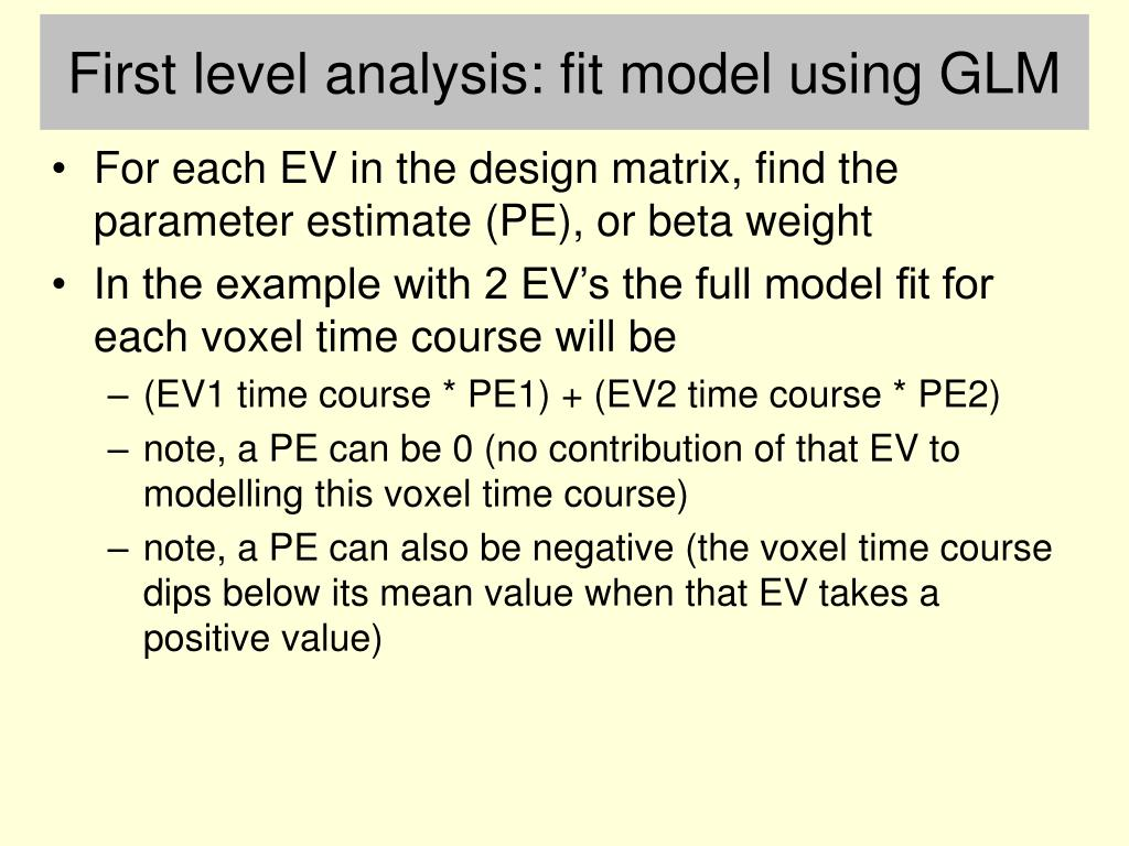 First level analysis: fit model using GLM