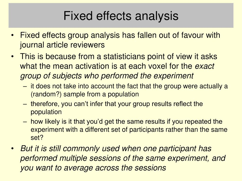 Fixed effects analysis