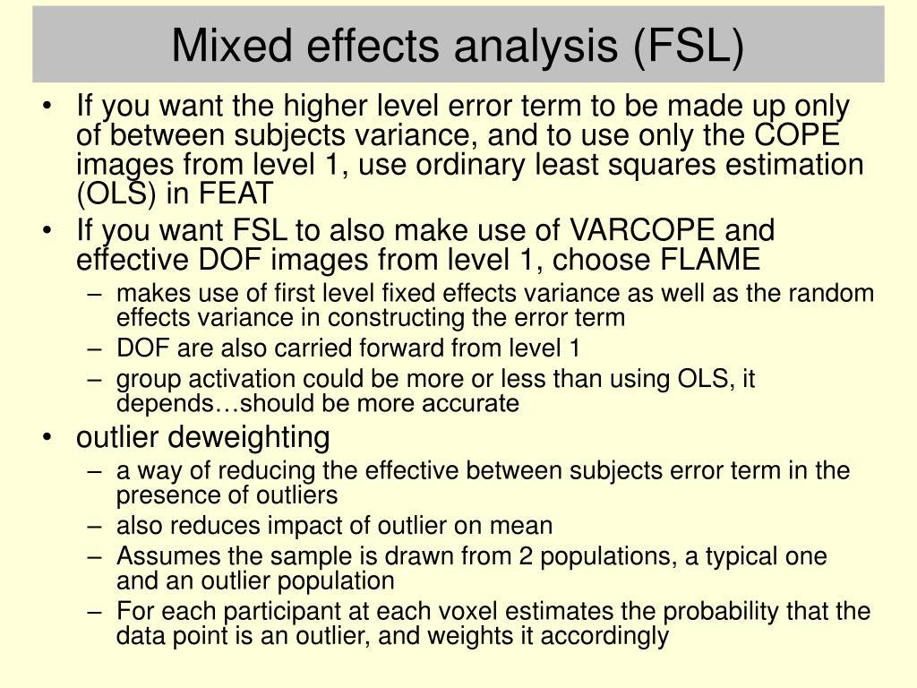 Mixed effects analysis (FSL)