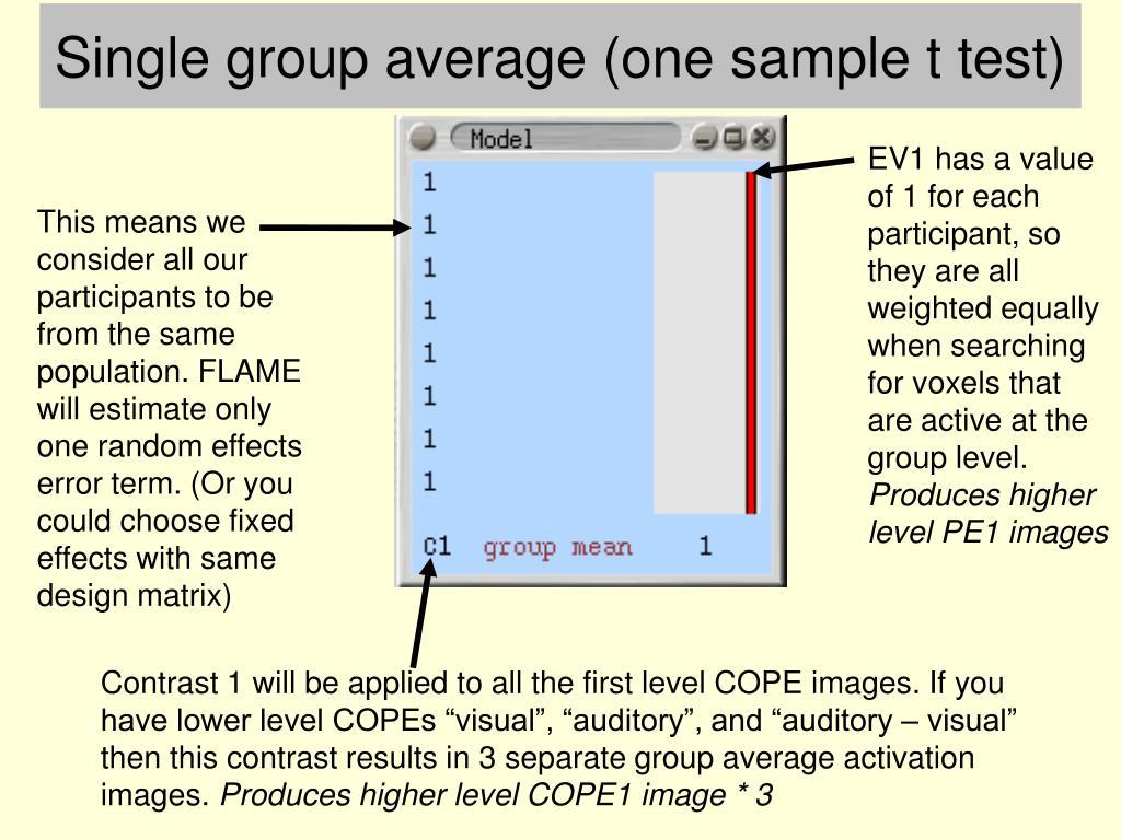 Single group average (one sample t test)
