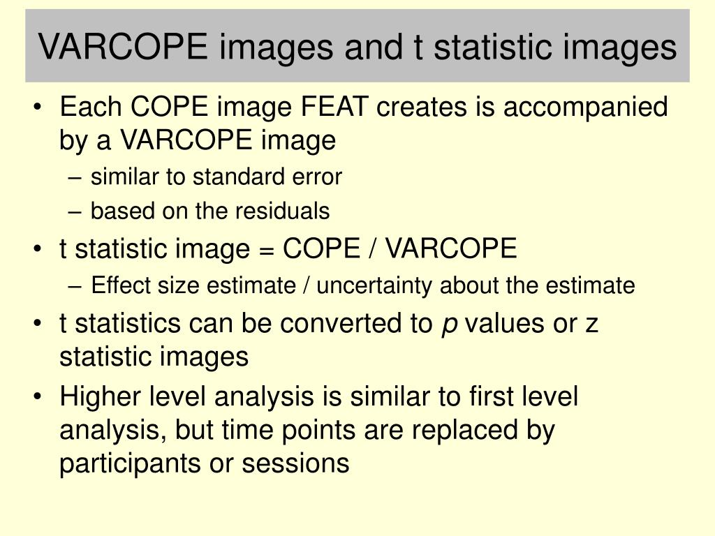 VARCOPE images and t statistic images