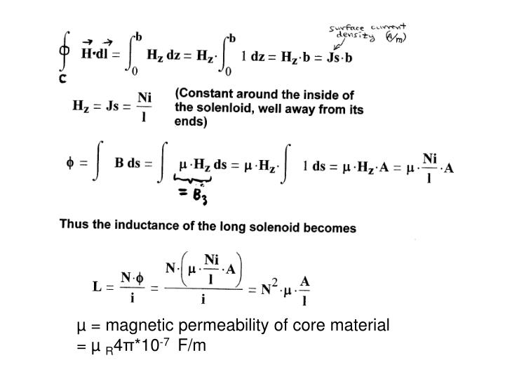 µ = magnetic permeability of core material
