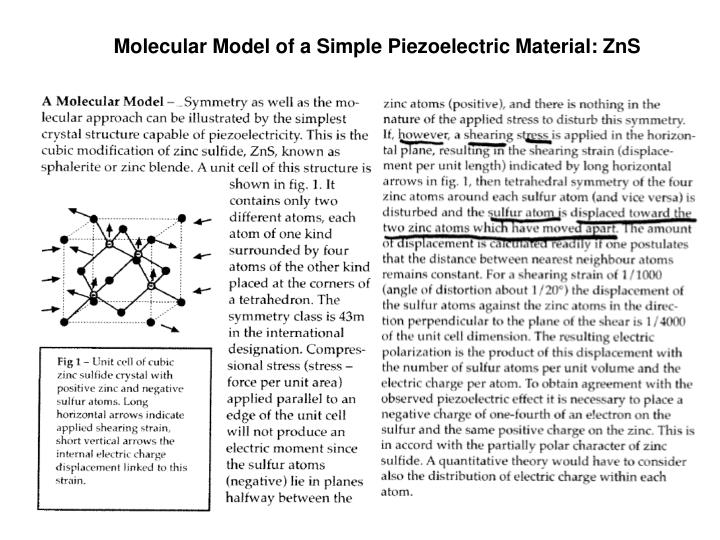 Molecular Model of a Simple Piezoelectric Material: ZnS