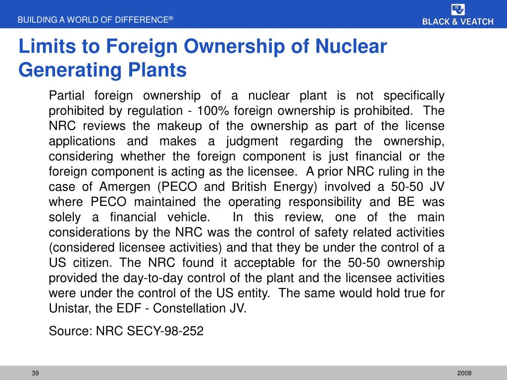 Limits to Foreign Ownership of Nuclear Generating Plants