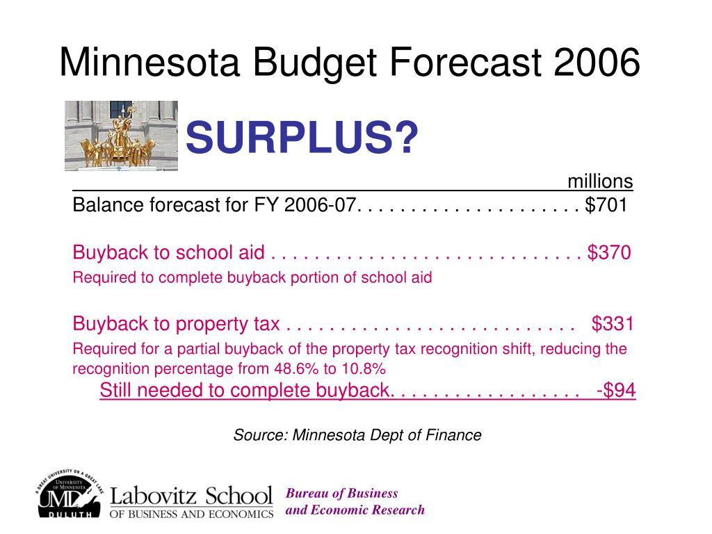 Minnesota Budget Forecast 2006