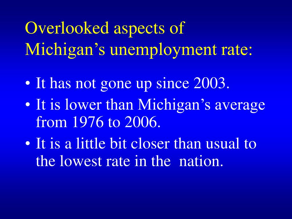 Overlooked aspects of Michigan's unemployment rate: