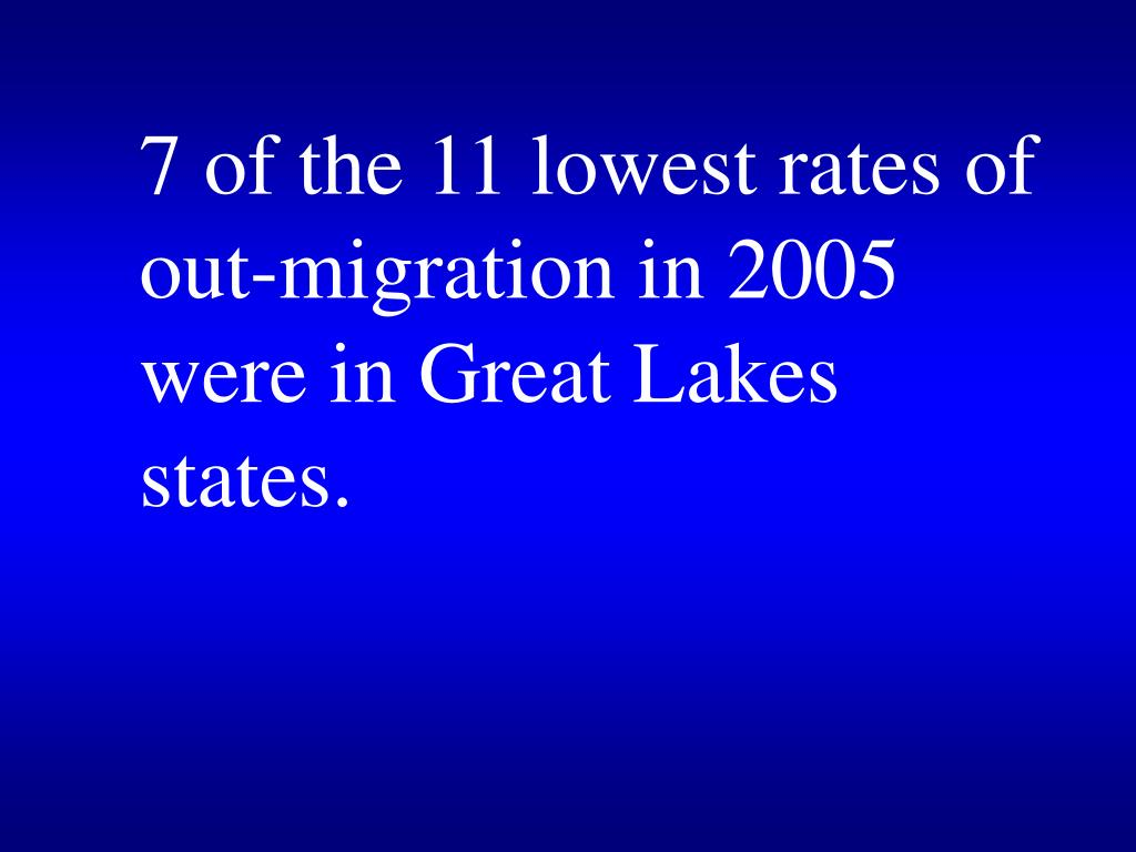 7 of the 11 lowest rates of out-migration in 2005 were in Great Lakes states.