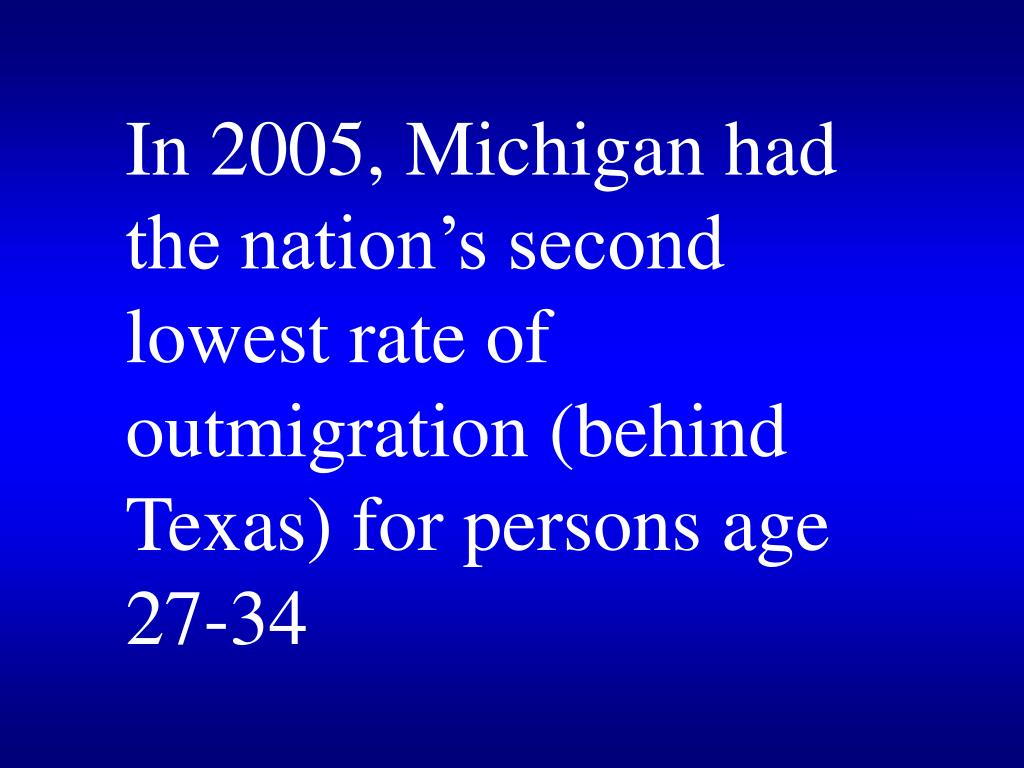 In 2005, Michigan had the nation's second lowest rate of outmigration (behind Texas) for persons age 27-34