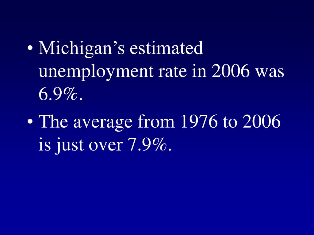 Michigan's estimated unemployment rate in 2006 was 6.9%.