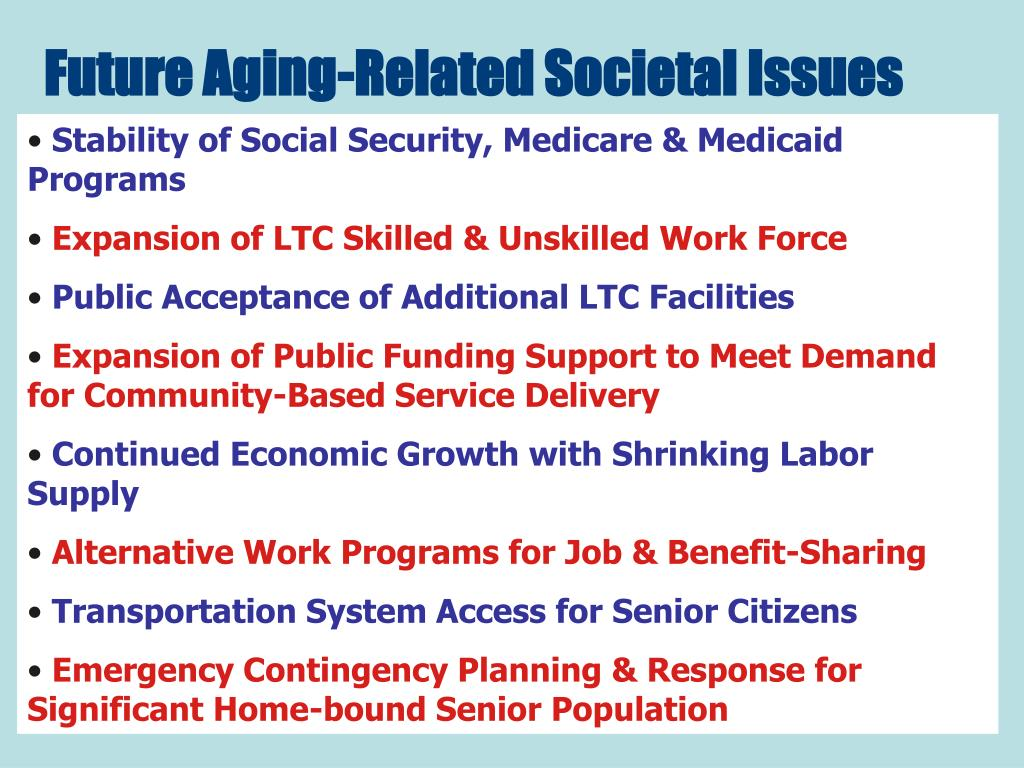 Future Aging-Related Societal Issues