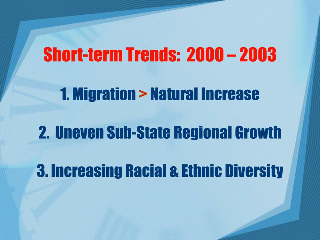 Short-term Trends:  2000 – 2003