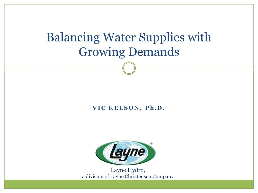 Balancing Water Supplies with Growing Demands
