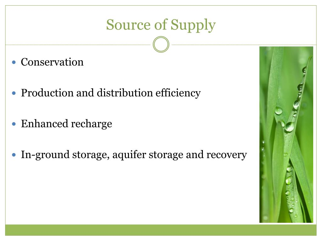 Source of Supply