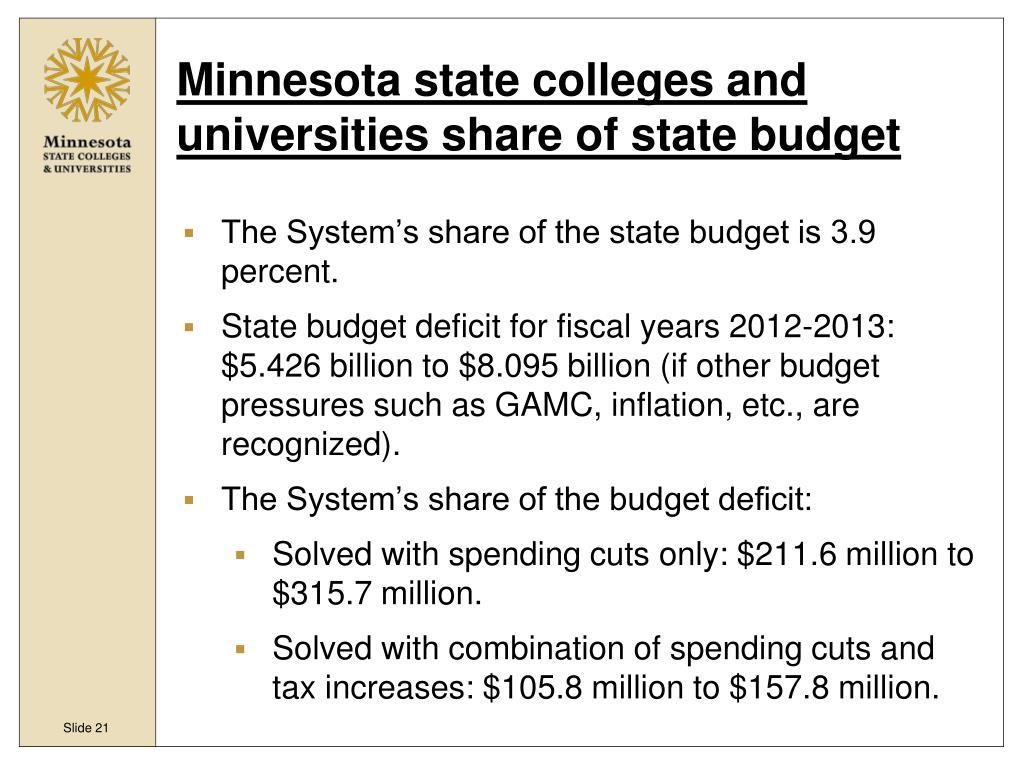 Minnesota state colleges and universities share of state budget