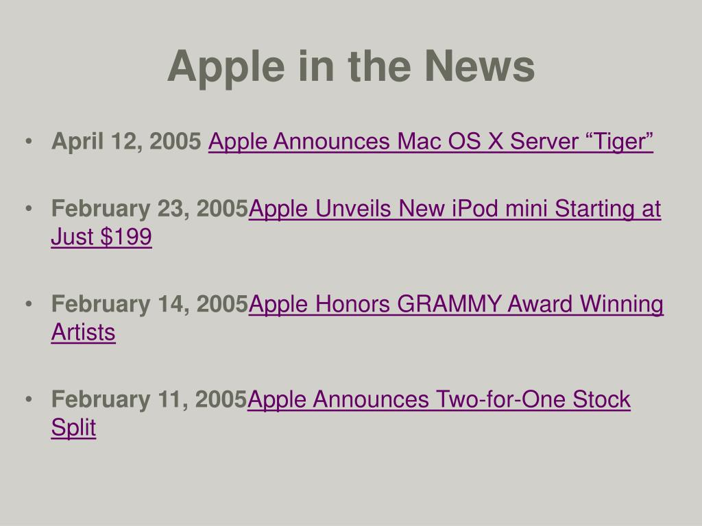 Apple in the News
