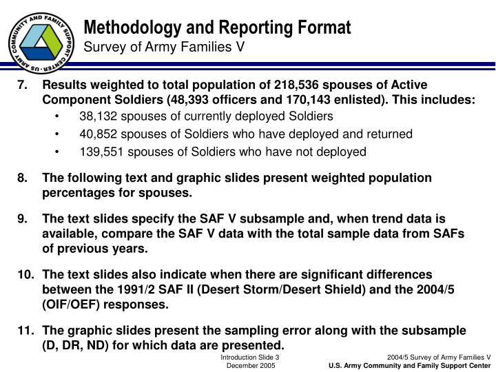 Methodology and Reporting Format