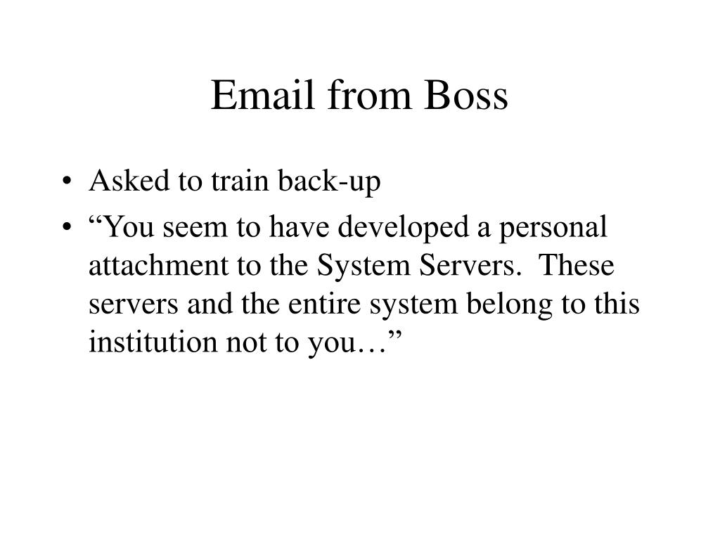Email from Boss