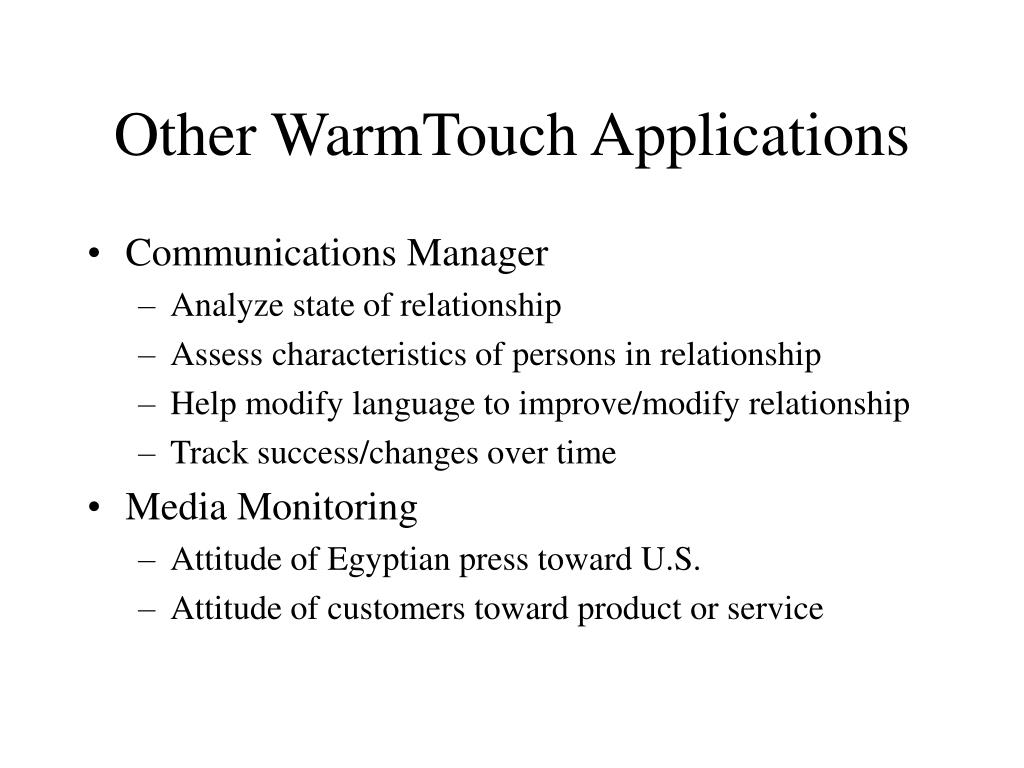 Other WarmTouch Applications