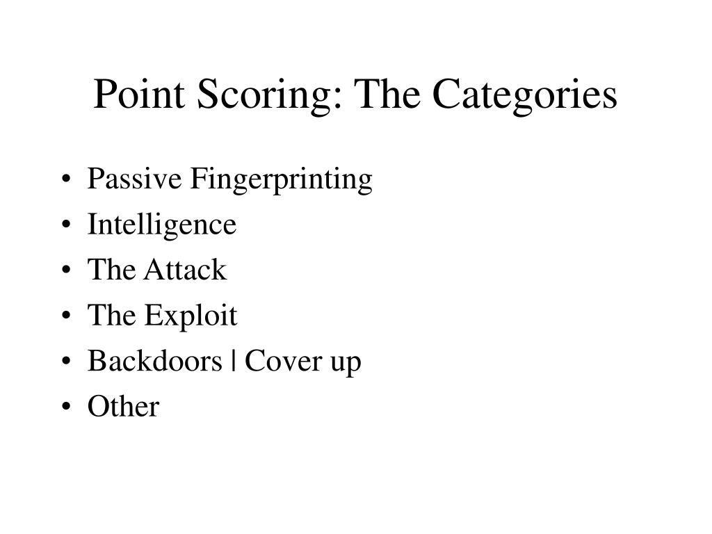 Point Scoring: The Categories