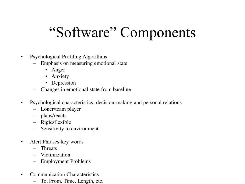 """""""Software"""" Components"""