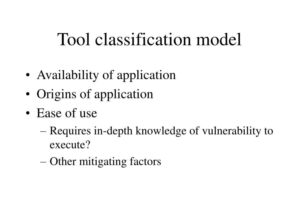 Tool classification model
