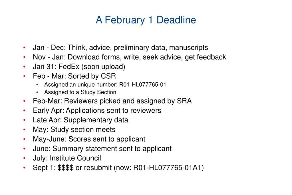 A February 1 Deadline