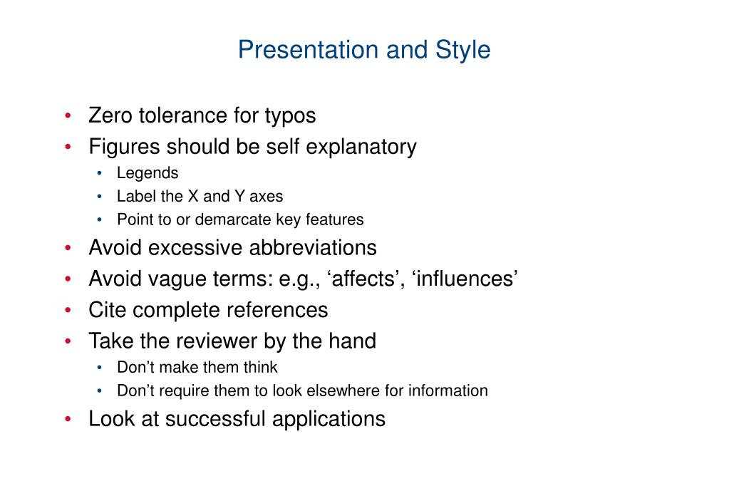 Presentation and Style