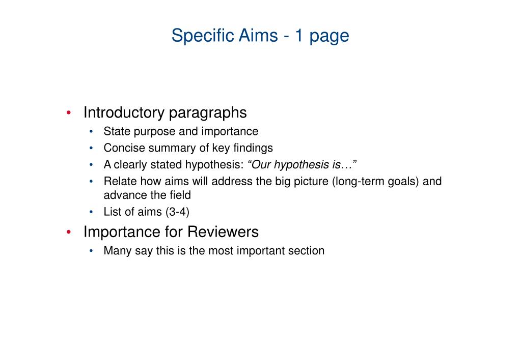 Specific Aims - 1 page