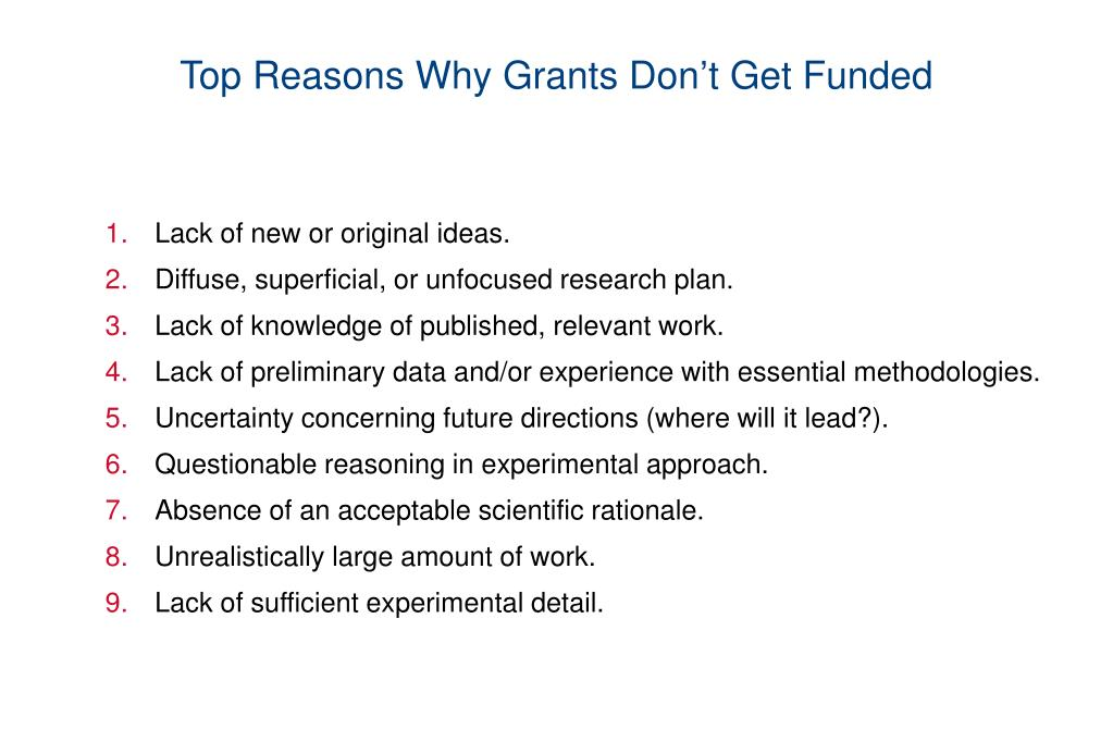 Top Reasons Why Grants Don't Get Funded