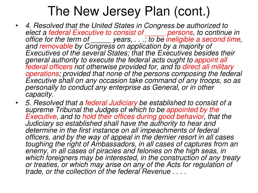 The New Jersey Plan (cont.)
