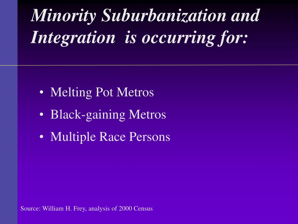 Minority Suburbanization and Integration  is occurring for: