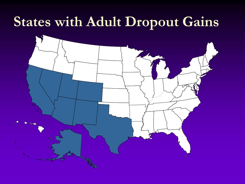 States with Adult Dropout Gains