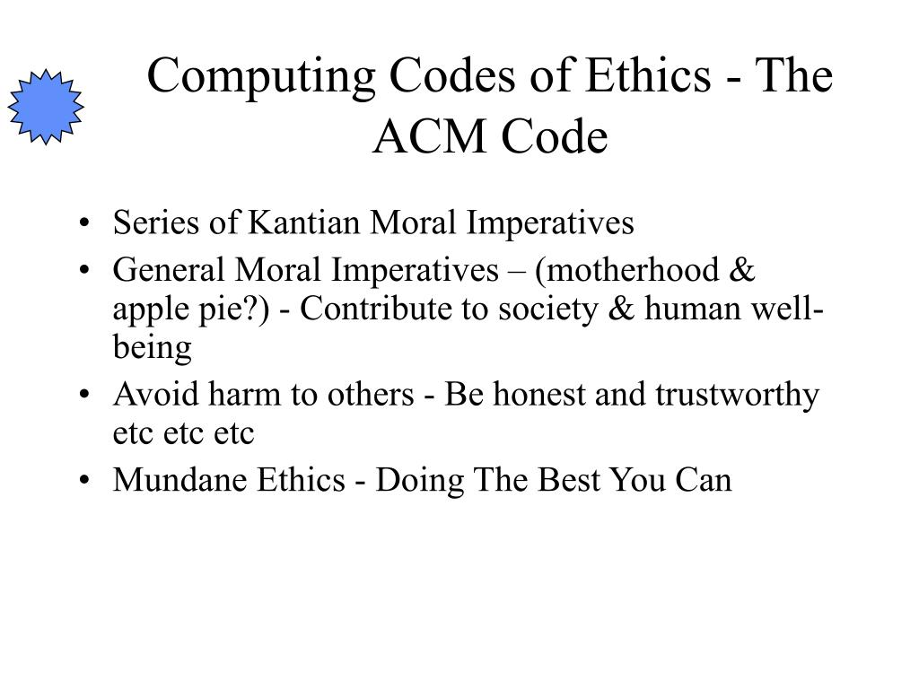 Computing Codes of Ethics - The ACM Code