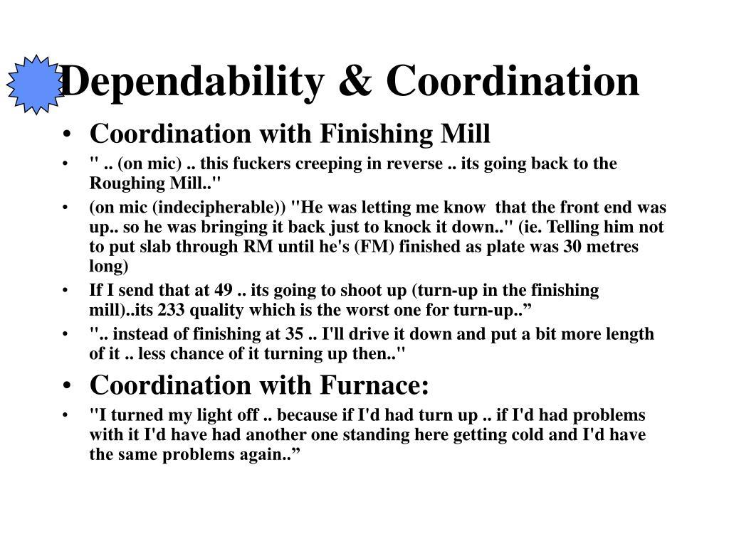 Dependability & Coordination
