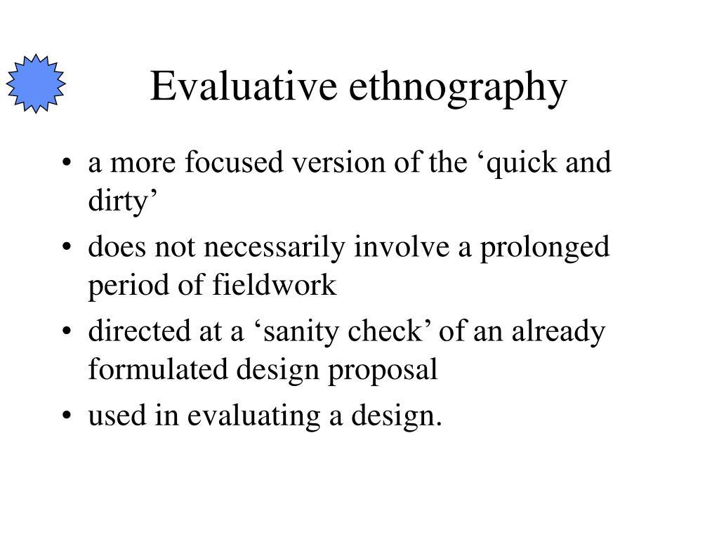 Evaluative ethnography