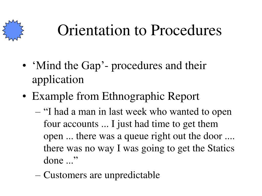Orientation to Procedures
