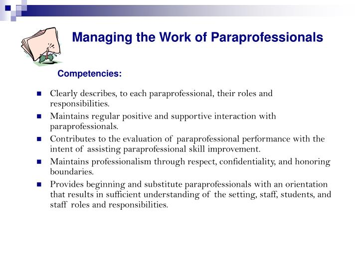 Managing the work of paraprofessionals competencies