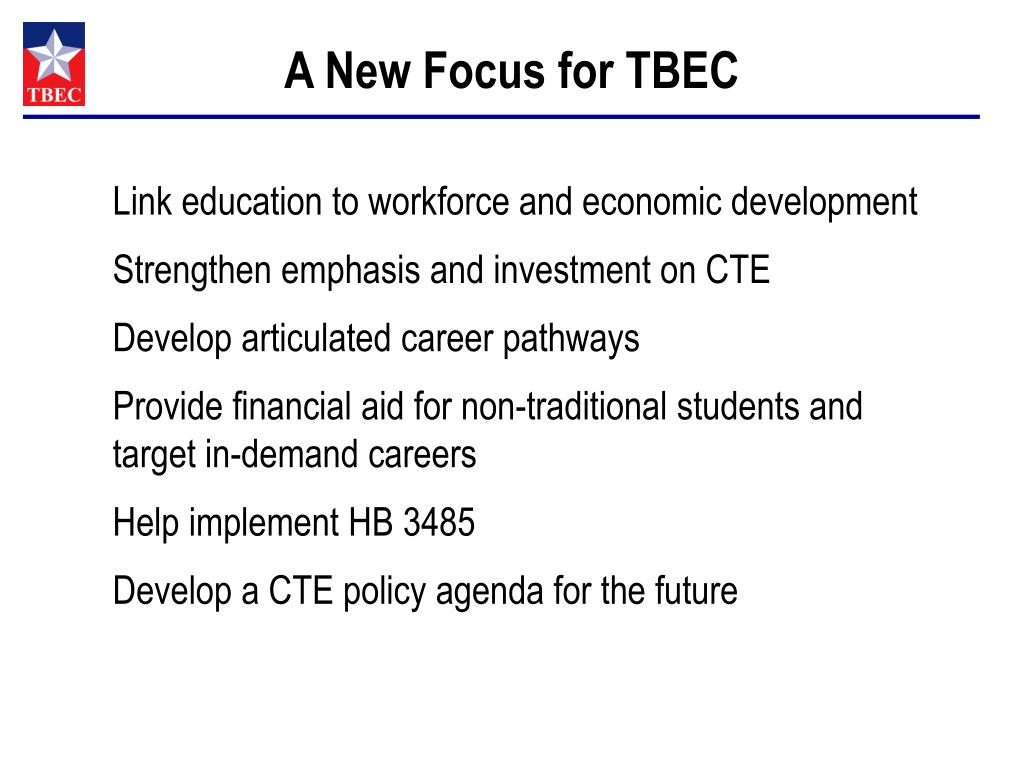 A New Focus for TBEC