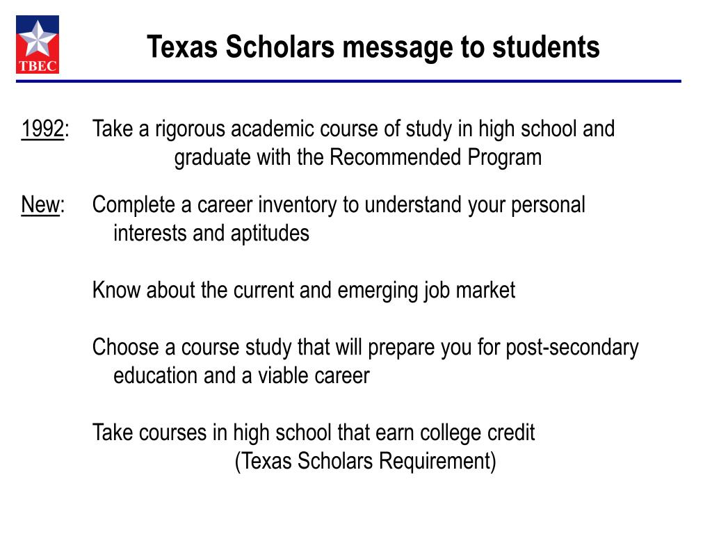 Texas Scholars message to students