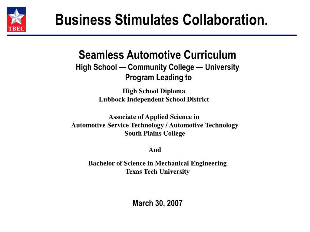 Business Stimulates Collaboration.