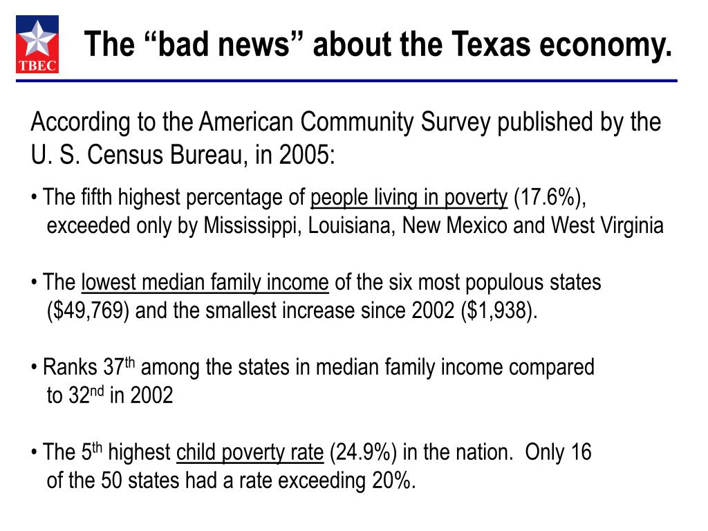"""The """"bad news"""" about the Texas economy."""